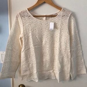 NWT LOFT WHITE LACE BLOUSE - XS